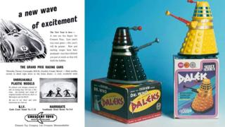 A Crescent Toys poster and Dalek toys made by Swansea-based Louis Marx