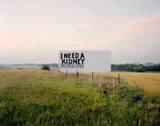 """A roadside sign that states """"I need a kidney"""""""