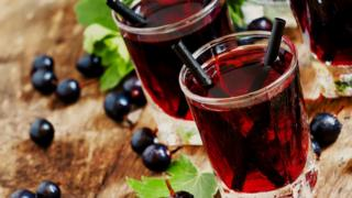 Two glasses of blackcurrant squash