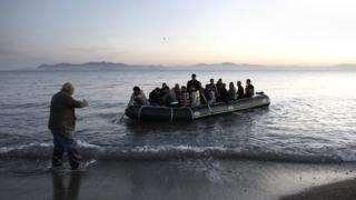 2015 file picture of refugees as they try to disembark on the coast of Kos island, Greece