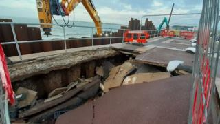 Collapsed pavement at Southsea