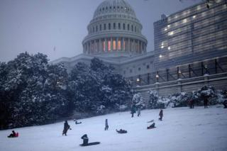 People sledging on Capitol Hill in Washington