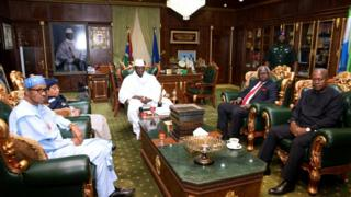 Gambian President Yahya Jammeh attends a meeting with a delegation of West African leaders during the election crisis mediation at the presidential palace in Banjul, Gambia December 13, 2016