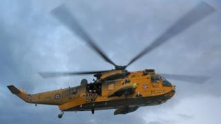 A Royal Navy Sea King rescue helicopter