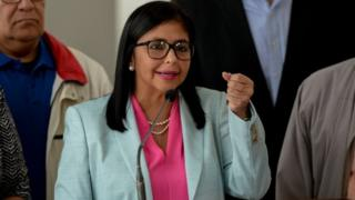 The president of Venezuela's Constituent Assembly, Delcy Rodriguez speaks during a press conference after holding a meeting with the Truth Commission, at the Foreign Ministry in Caracas on December 23, 2017.