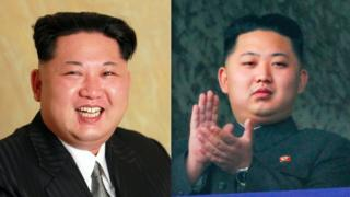 Composite image showing (left) Kim Jong-un seated for an official photograph released by KCNA 10 May 2016, and (right) applauding at a parade on 10 October 2010. He is slightly but noticeably fatter in the more recent image.