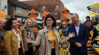 Layla Moran and Tim Farron campaigning