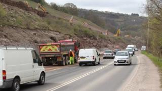 Roadworks on the Heads of the Valleys road