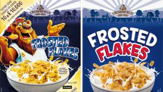 The old brand of Lidl's Frosted Flakes - featuring a cartoon lion - and the new brand