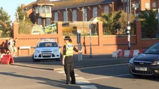 Police directing traffic at Barry Island