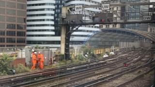 Engineers outside Waterloo Station