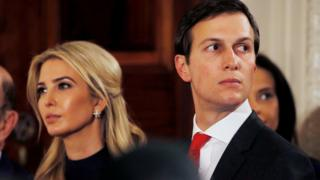 Ivanka Trump and her husband Jared Kushner watch as German Chancellor Angela Merkel and U.S. President Donald Trump hold a joint news conference in the East Room of the White House in Washington, U.S., March 17, 2017