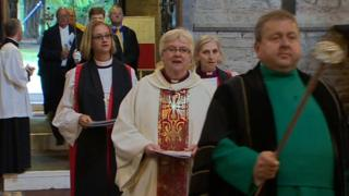 Bishop June Osborne moments before she was sworn in as Bishop of Llandaff
