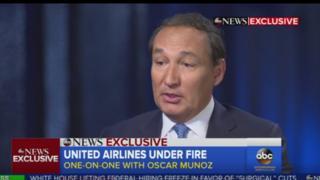 联合航空的总裁在电视频道ABC的早间节目中说