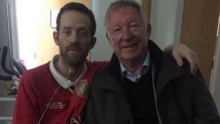 Damien Nixon and Sir Alex Ferguson