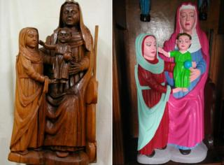 the figurines before and after restoration