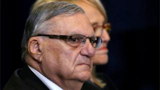 Sheriff Joe Arpaio is pictured waiting for Republican presidential nominee Donald Trump during a campaign event in Phoenix, Arizona.