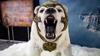 "Life-sized lorek the Armoured Bear from ""His Dark Materials"", on display during Cake International 2019 at the NEC, Birmingham"