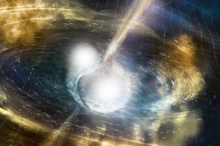 (ภาพจากฝีมือศิลปิน) การหมุนเข้ารวมตัวกันของดาวนิวตรอนทำให้กาล-อวกาศกระเพื่อมขึ้นลงเป็นคลื่น