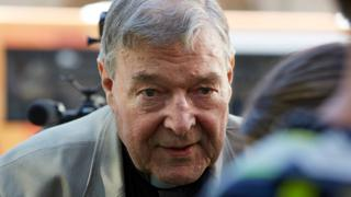 George Pell outside a Melbourne court on 27 February