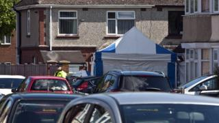 Police tent at house in Overstone Road