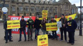 RMT Arriva Northern drivers and conductors picket line outside Carlisle Citadel Station
