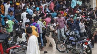 Police fight back protesters in Shadnagar