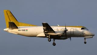 Saab 340A plane approaching Birmingham Airport on 7 March 2017