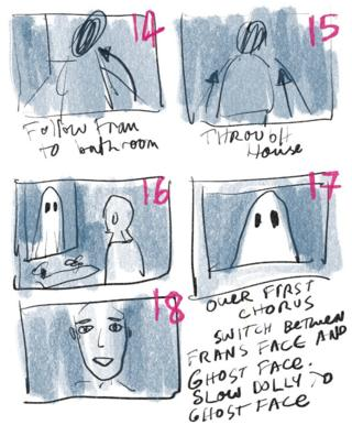 An early storyboard for the video