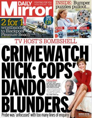 Daily Mirror front page, 13/4/19