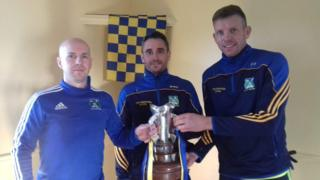 From left: Niall Campbell (38, 19 titles), Mickey McCann (40, 20 titles) and Ciaran Dowds (41, 20 titles)