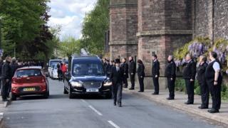 Rachael Yates' funeral cortege passes Usk Prison