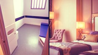 Prison cell and hotel room