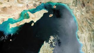 Hürmüz Boğazı'nın 2017 yılına ait uydu görüntüsü
