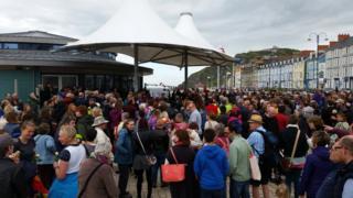 Crowds on Aberystwyth prom