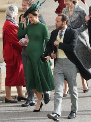 "Pippa and James Matthews arrive for the wedding of Princess Eugenie to Jack Brooksbank at St George""s Chapel in Windsor Castle"
