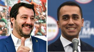 Composite image of Matteo Salvini (right) and Luigi di Maio (left)