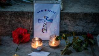 Flowers and tributes in Saint-Etienne-du-Rouvray after a priest was killed with a knife