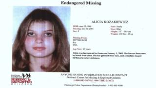Alicia's missing person poster