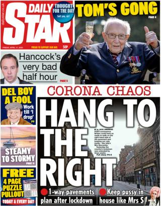 Daily Star front page, 17/4/20