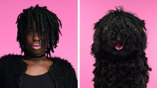 A woman with pale pink lipstick and dark black dreadlocks dramatically stares forward next to a picture of a dog with dark curly hair and a bright pink tongue.