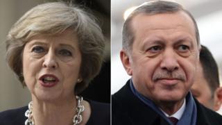 Theresa May and President Recep Tayyip Erdogan
