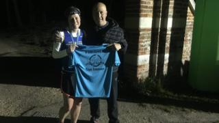 Maria Greaves with her finisher T-shirt