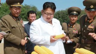 કિમ જોંગ તેમના અધિકારીઓ સાથે.