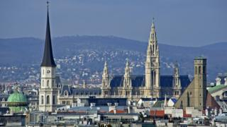 Panorama view over Vienna. St. Michael's Church;Town hall and Minorites Church.
