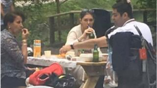 Picture showing Azadeh Namdari drinking beer whilst not wearing Islamic dress