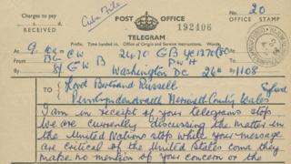 Telegram gan Arlywydd Kennedy