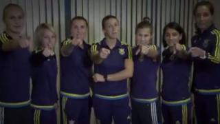 Screengrab from video promoting Ukrainian women's football team