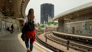 General view of the Grenfell Tower from Wood Lane station in west London. Photo taken 11 July