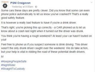 PSNI Craigavon post on Facebook
